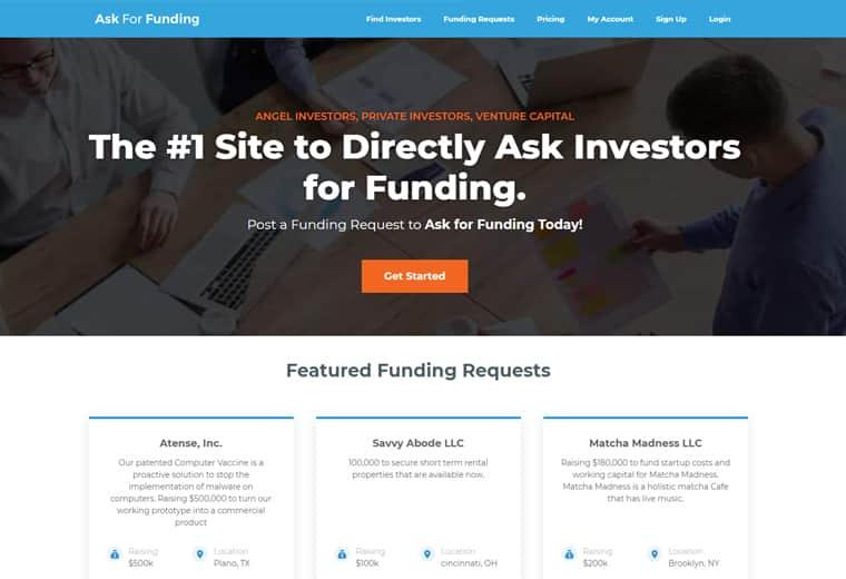 ask for funding screenshot